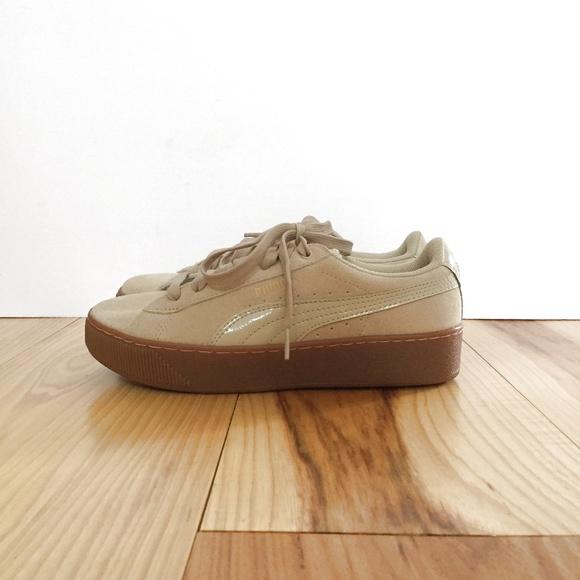 Beige Puma Thick Gum Sole Sneaker Sz 7